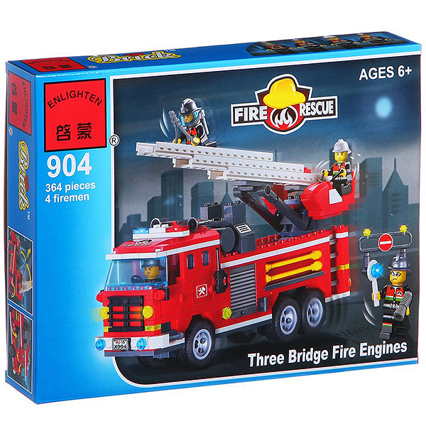 Конструктор пласт.  Fire Rescue,  364 дет,  35*26*5, 5см,  BOX,  ENLIGHTEN арт. 904