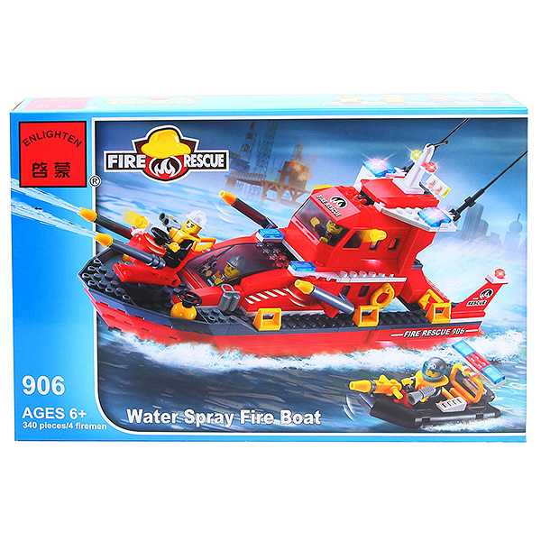 Конструктор пласт.  Fire Rescue,  340 дет,  41*28*6, 5см,  BOX,  ENLIGHTEN  арт. 906
