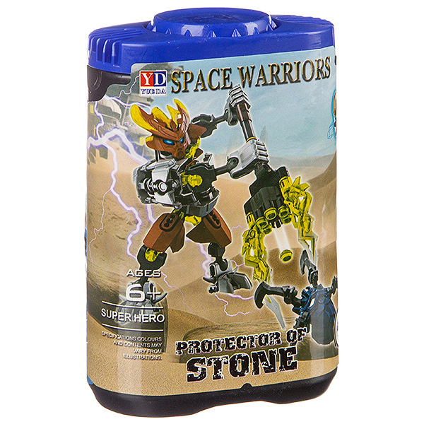 Конструктор-робот Space Warriors в банке 14х9х5 см,  6 видов,  арт. 998-74.