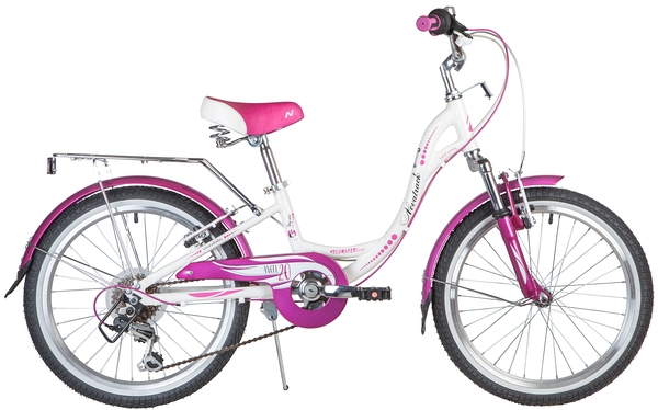 "Велосипед NOVATRACK 20"",  ANGEL,  белый,  алюм. ,  6-скор,  TY21/RS35/SG-6SI,  V-brake"